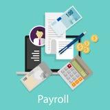 Gehaltsabrechnungsgehalts-Buchhaltungszahlung unternimmt Geldtaschenrechner-Ikonensymbol Stockbild