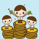 Gehaltsveränderung Geschäftskonzept-Karikaturillustration Lizenzfreies Stockbild