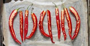 5 gehalveerde rode Spaanse pepers op een bakselblad Royalty-vrije Stock Afbeeldingen