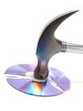 Gehamerde CD royalty-vrije stock afbeelding