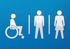 Gehandicapt, mannelijk en vrouwelijk toiletteken Royalty-vrije Stock Foto's