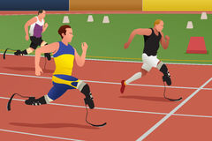 Gehandicapte Atleten in het Runnen van Concurrentie royalty-vrije illustratie