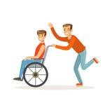 Gehandicapte jonge mens in rolstoel, glimlachende vriend of vrijwilliger hem helpen, gezondheidszorghulp en toegankelijkheid die vector illustratie