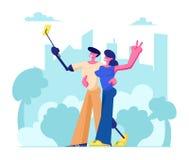 Gehandicapte Man en Vrouw die met Been en Wapenprothese Selfie op Cityscape Achtergrond, Motivatie en Bodypositive-Concept maken royalty-vrije illustratie