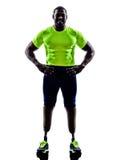 Gehandicapte mensenjoggers met het silhouet van de benenprothese Stock Foto