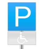 Gehandicapten die teken parkeren Stock Foto