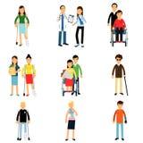 Gehandicaptenkarakters, gehandicapte mannen en vrouwen die medische behandeling, gezondheidszorghulp en toegankelijkheid I krijge royalty-vrije illustratie