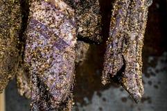 Gehangen Gerookt bacon royalty-vrije stock foto's