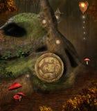Geheim huis in het midden van het bos vector illustratie