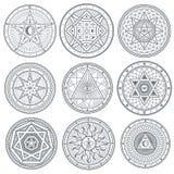Geheim, mysticus, geestelijke, esoterische vectorsymbolen vector illustratie