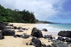 Geheim Strand, Kauapea, Kauai, Hawaï, de V.S. royalty-vrije stock afbeelding