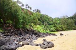 Geheim Strand, Kauapea, Kauai, Hawaï, de V.S. stock fotografie