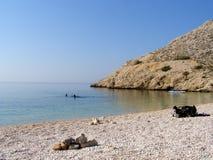 Geheim strand op Adriatische Overzeese kust in Kroatië Stock Foto