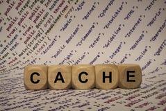 Geheim voorgeheugen - kubus met brieven en woorden van de computer, software, Internet-categorieën, houten kubussen stock foto's