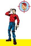 Geheimagent mit Gewehr und Banditen lizenzfreie stockfotos