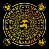 Geheime doopvontvreemdelingen Geheimzinnige symbolen op een plaat Stock Afbeeldingen