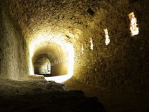 Geheime gang in middeleeuws kasteel Royalty-vrije Stock Afbeelding