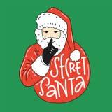 Geheime Kerstman vectorillustratie met Santa Claus vector illustratie