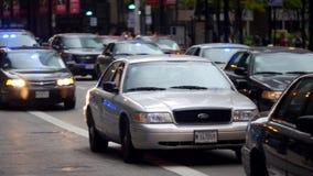 Geheime Polizei-Motor- Stadt von Chicago stock footage