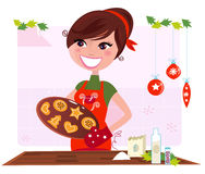 Geheimes Rezept: Frau, die Weihnachtsplätzchen zubereitet Lizenzfreies Stockbild