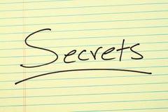Geheimnisse auf einem gelben Kanzleibogenblock Lizenzfreie Stockbilder