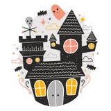 Geheimzinnig achtervolgd kasteel, leuke grappige enge spoken en knuppels die rond tegen sterrige nachthemel vliegen op achtergron vector illustratie