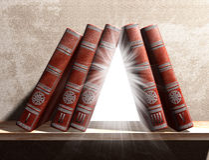 Geheimzinnig boekenrek stock illustratie