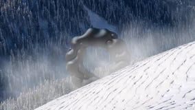 Geheimzinnig drijvend voorwerp, UFO over het sneeuwlandschap het 3d teruggeven, naadloze lijnanimatie stock videobeelden