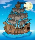 Geheimzinnig schip met volle maan royalty-vrije illustratie