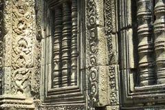 Geheimzinnige bashulp die afschilderend een dinosaurus bij de oude tempel van Ta Prohm in Angkor Kambodja snijden stock foto's