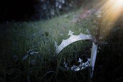 geheimzinnige en magische foto van zilveren koningskroon en zwaard in het hout van Engeland of gebiedslandschap met lichte gloed  stock afbeelding
