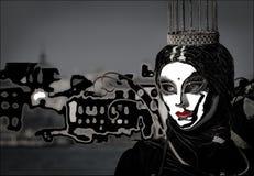 Geheimzinnige glamourprinses met wit masker, kroon en rode lippenstift met artistiek achtergrond, duivel en engelenconcept vector illustratie