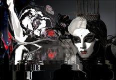 Geheimzinnige glamourprinses met wit masker, kroon en rode lippenstift en lelijke duivel met grote ogen en rode tong stock illustratie