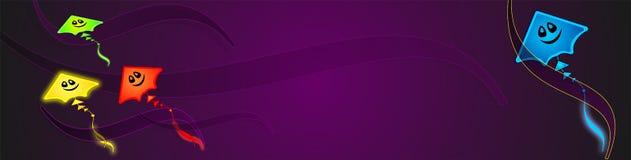 Geheimzinnige gloeiende kleurrijke vlieger, spook-vlieger, Netto Banner, Achtergrond, illusie, samenvatting, exclusieve illustrat vector illustratie