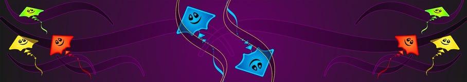 Geheimzinnige gloeiende kleurrijke vlieger, spook-vlieger, Netto Banner, Achtergrond, illusie, samenvatting, exclusieve illustrat stock illustratie