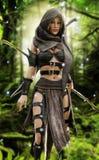 Geheimzinnige houten elfstrijder in het mystieke bos plaatsen royalty-vrije illustratie