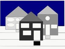 Geheimzinnige huizen die u maken benieuwd zijn welke ` s binnen stock illustratie