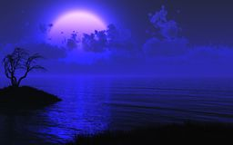 Geheimzinnige Maanbeschenen Overzeese Achtergrond Stock Afbeeldingen