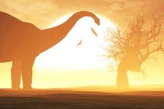 Geheimzinnige Magische Voorhistorische Fantasiewoestijn in de Zonsondergangzonsopgang Royalty-vrije Stock Foto
