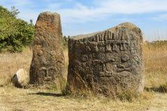 Geheimzinnige megalitische Tiya-pijlers, Unesco-de Plaats van de Werelderfenis, Ethiopië Stock Fotografie
