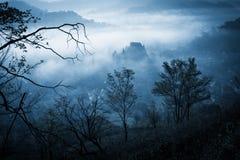Geheimzinnige nevelige ochtend over Biertan-dorp, Transsylvanië, Roemenië stock fotografie