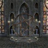 Geheimzinnige ruimte met heidens altaar en kaarsen royalty-vrije illustratie