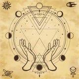 Geheimzinnige tekening: de menselijke handen houden een magische cirkel, heilige meetkunde Ruimtesymbolen royalty-vrije illustratie