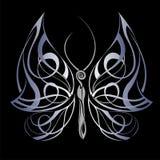 Geheimzinnige vlinder op zwarte achtergrond Royalty-vrije Stock Foto