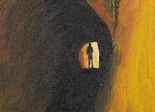 Geheimzinnigheid mens in tunnel Stock Afbeelding