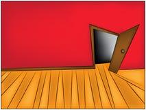 Geheimzinnigheid Zaal beeldverhaal vectorillustratie van huis of bureaugang en open deur stock illustratie
