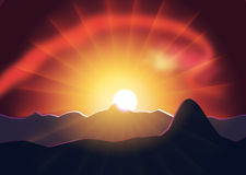 Geheimzinnigheid zonsondergang achter de bergen Royalty-vrije Stock Afbeelding