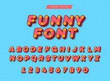 Geheld vector 3d zonder serif alfabet Kleurrijke doopvont moderne typografie voor jonge geitjesboek Stock Foto's