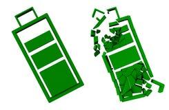 Gehele en verbrijzelde groene batterij Concept-vriendschappelijke apparaten 3d Royalty-vrije Stock Foto's