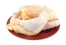 Gehele het roosteren kip op plaat Stock Afbeelding